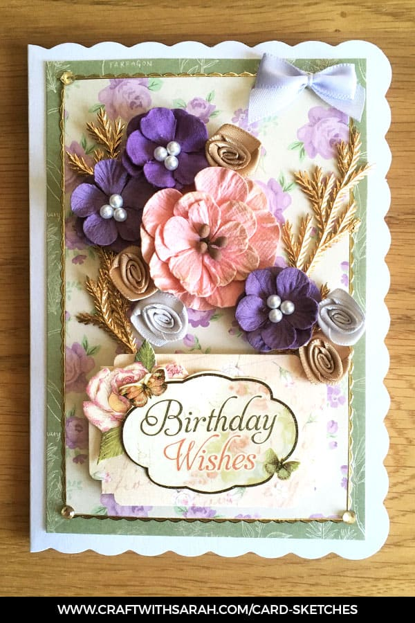 Card sketch 6 sample card. Card making inspiration from Craft with Sarah.