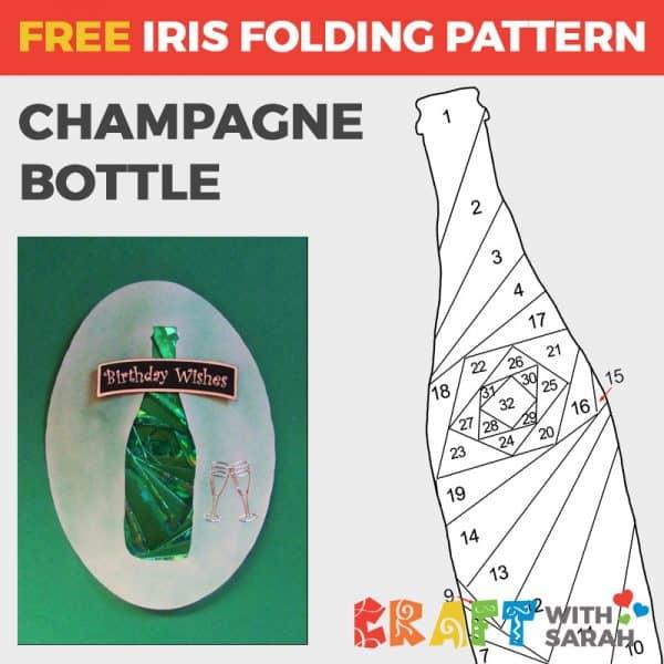 Champagne Bottle Iris Folding Pattern