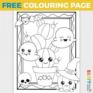 Kawaii Cacti Halloween Coloring Page