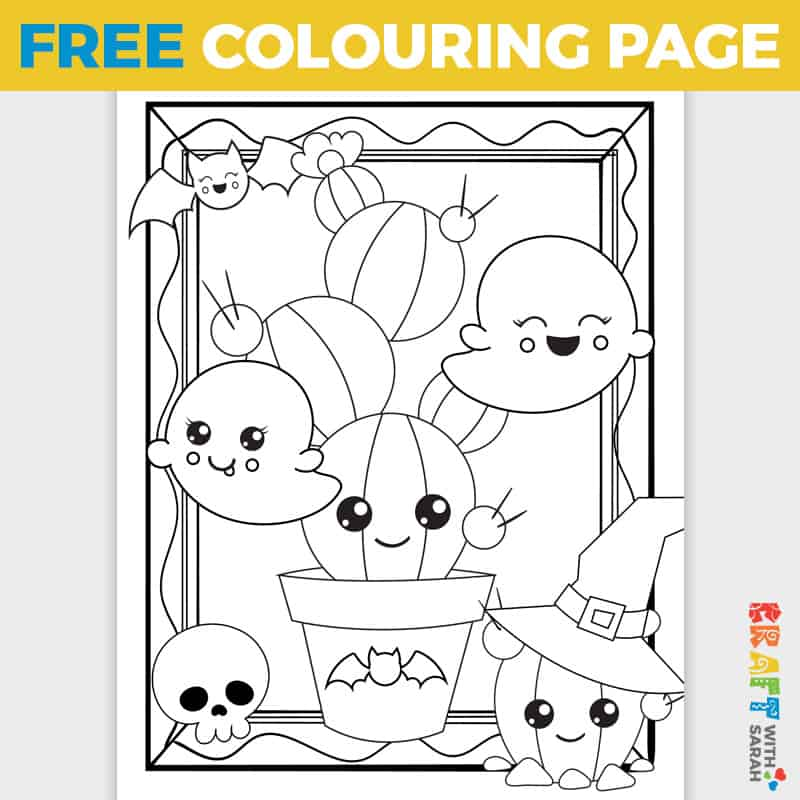 Kawaii Cacti Halloween Coloring Page