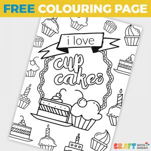 'I Love Cupcakes' Coloring Page