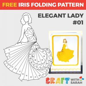 Elegant Lady Iris Folding Pattern 01