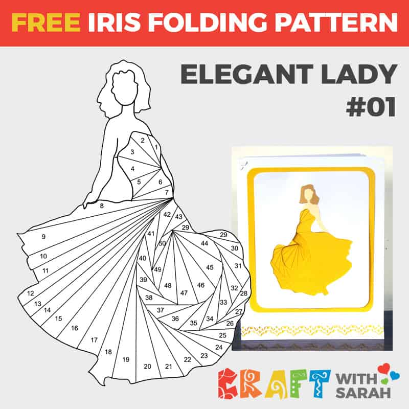 Elegant Lady Iris Folding Pattern 01