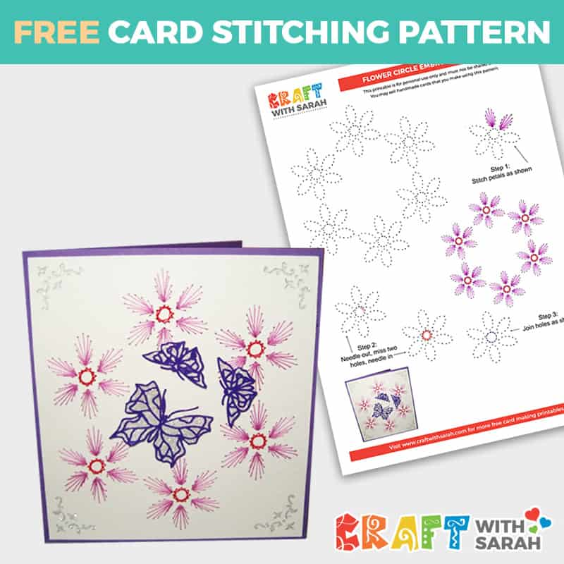 Flower Border Card Stitching Pattern