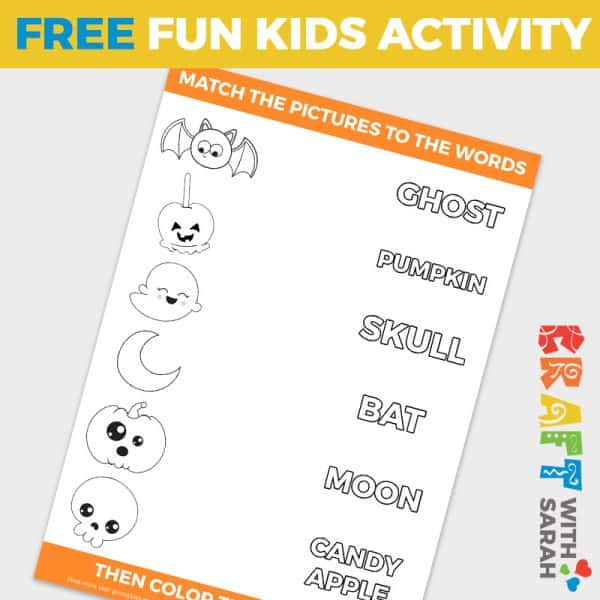 Fun Halloween Word Matching Game for Kids