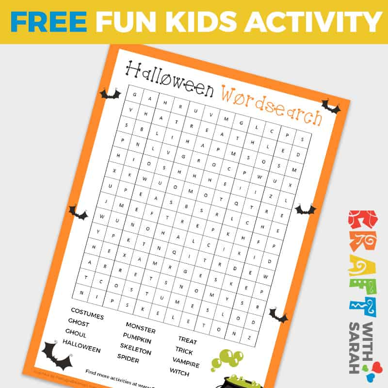Halloween Word Search Game for Kids
