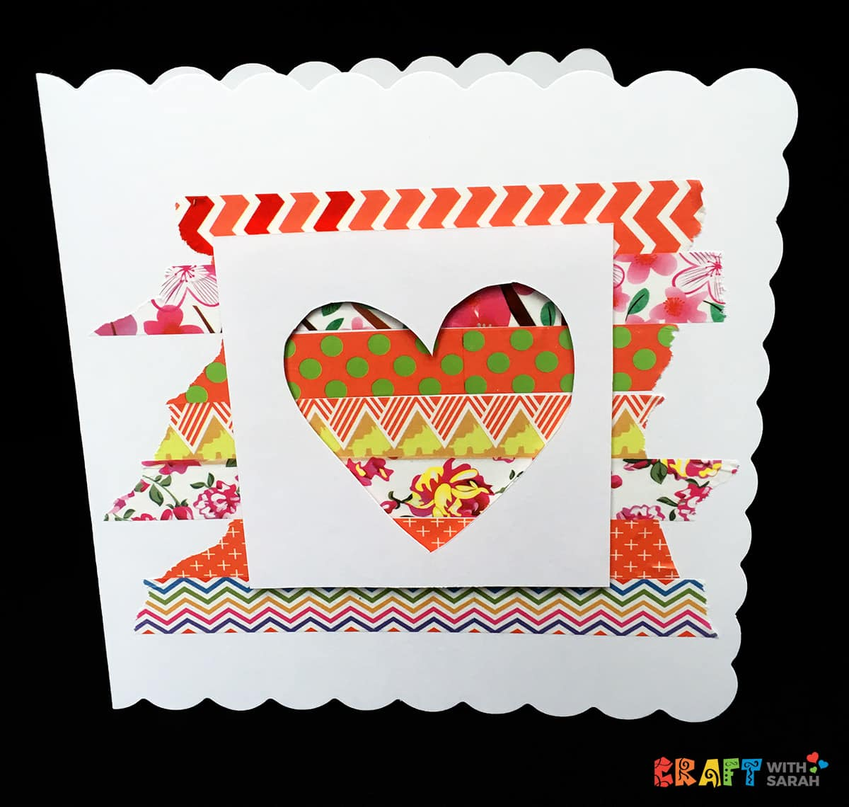 Heart cutout Valentine's Day card with Washi Tape background DIY