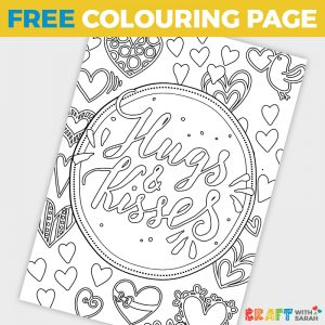 'Hugs & Kisses' Love Coloring Page