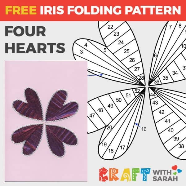 Four Hearts Iris Folding Pattern