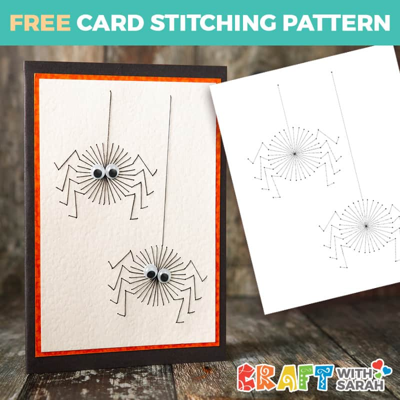 Spooky Spiders Card Stitching Pattern