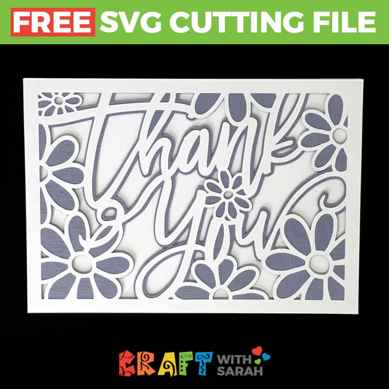 Thank You Flowers Greetings Card SVG