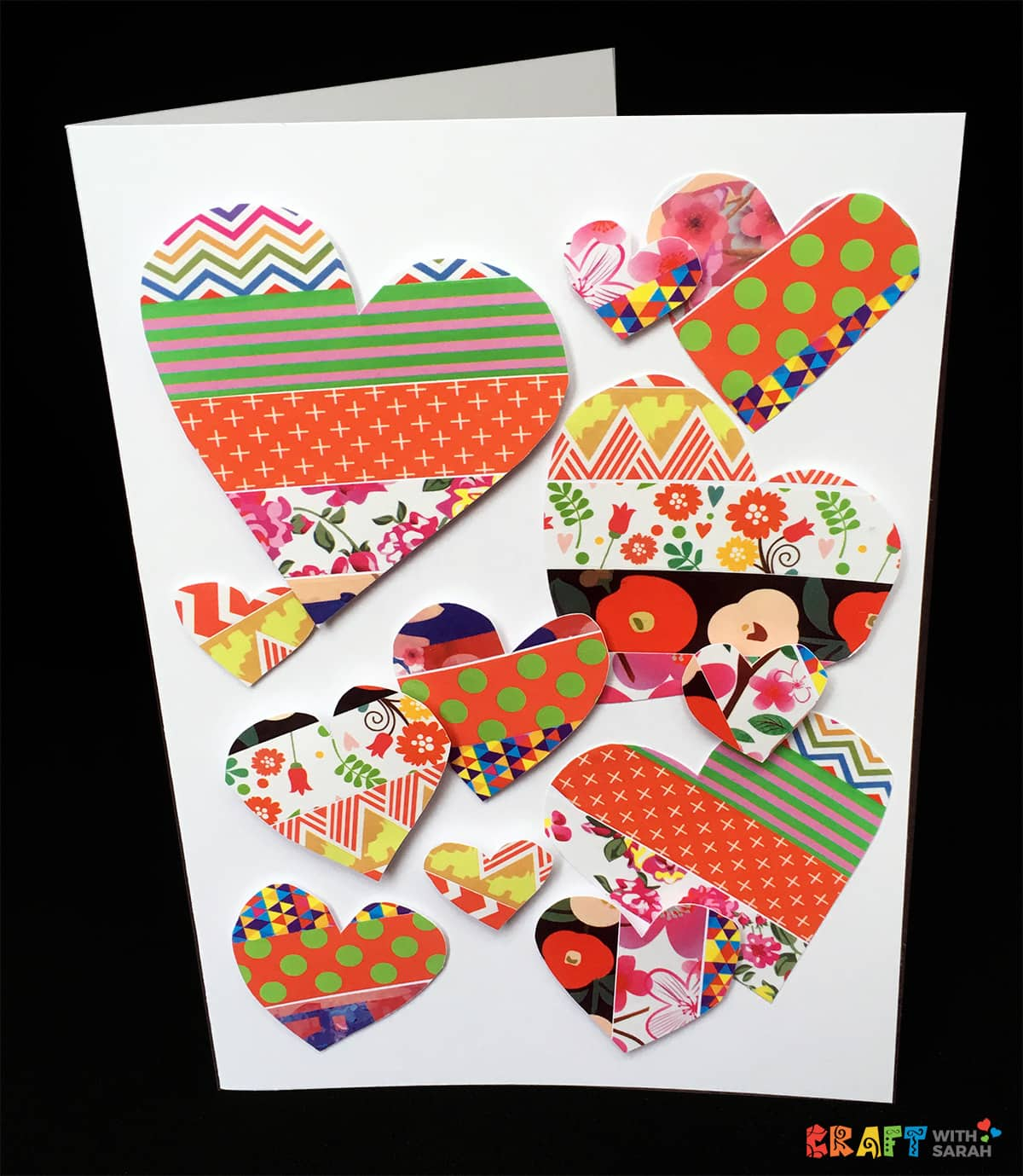 DIY Washi Tape Heart Explosion Handmade Card