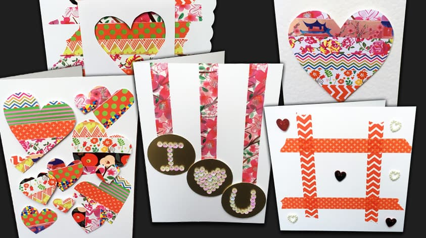 5 Easy 10-Minute Washi Tape Valentine Cards