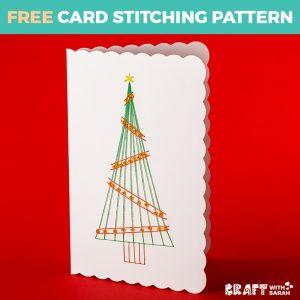 Beaded Christmas Tree Card Stitching