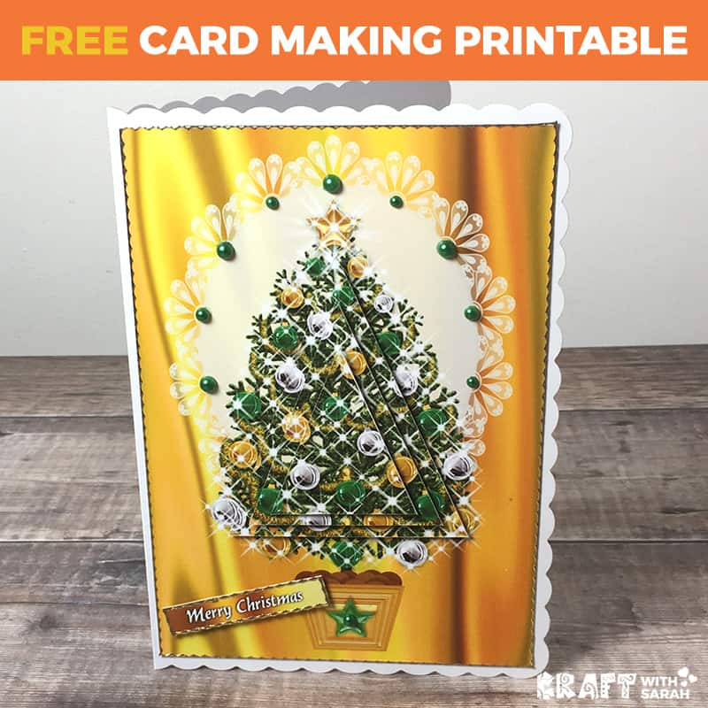 Golden Christmas Tree Card Craft With Sarah