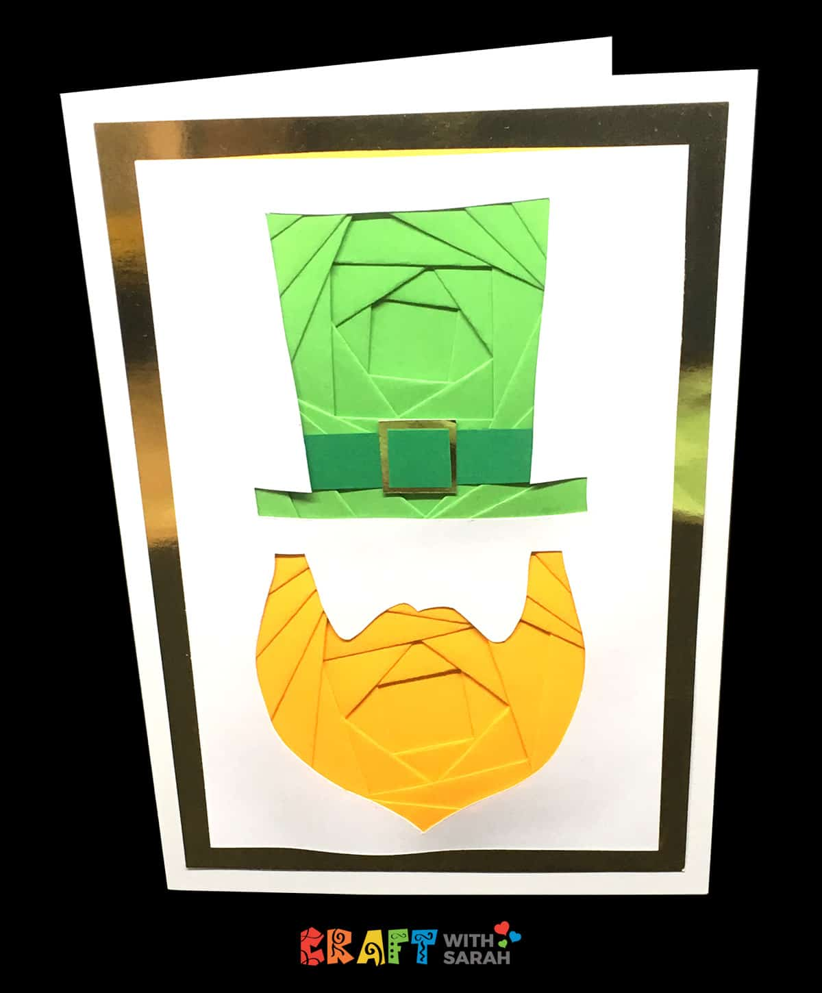 Leprechaun iris folding card for St Patrick's Day