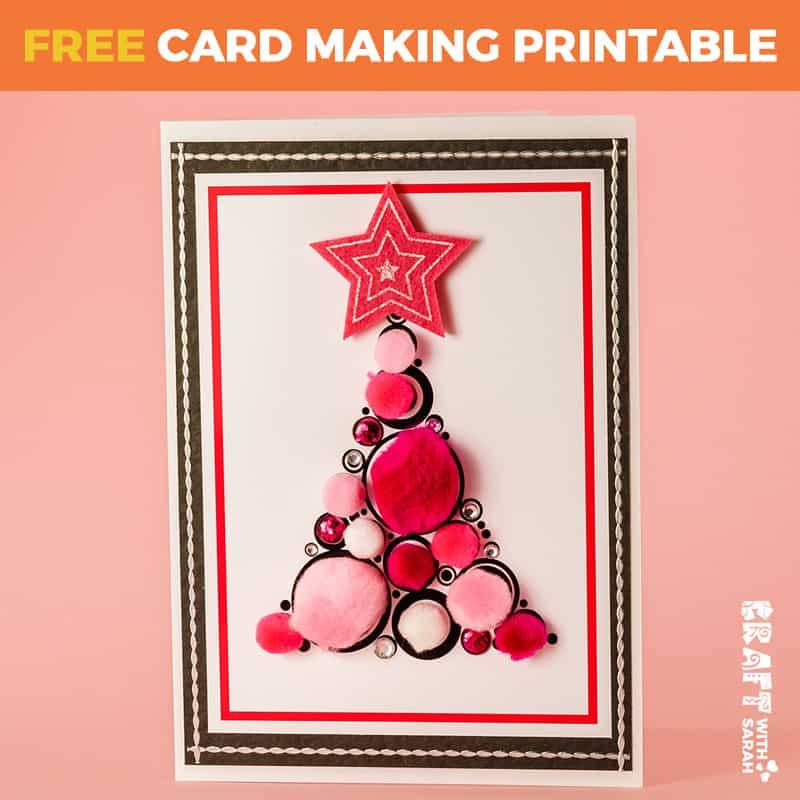 Pink Pompom Tree Card