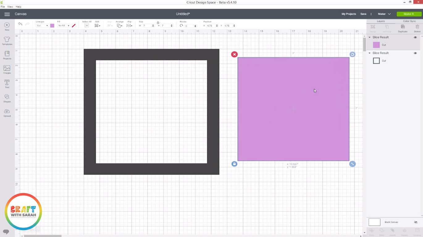 Cricut slice tool in Design Space