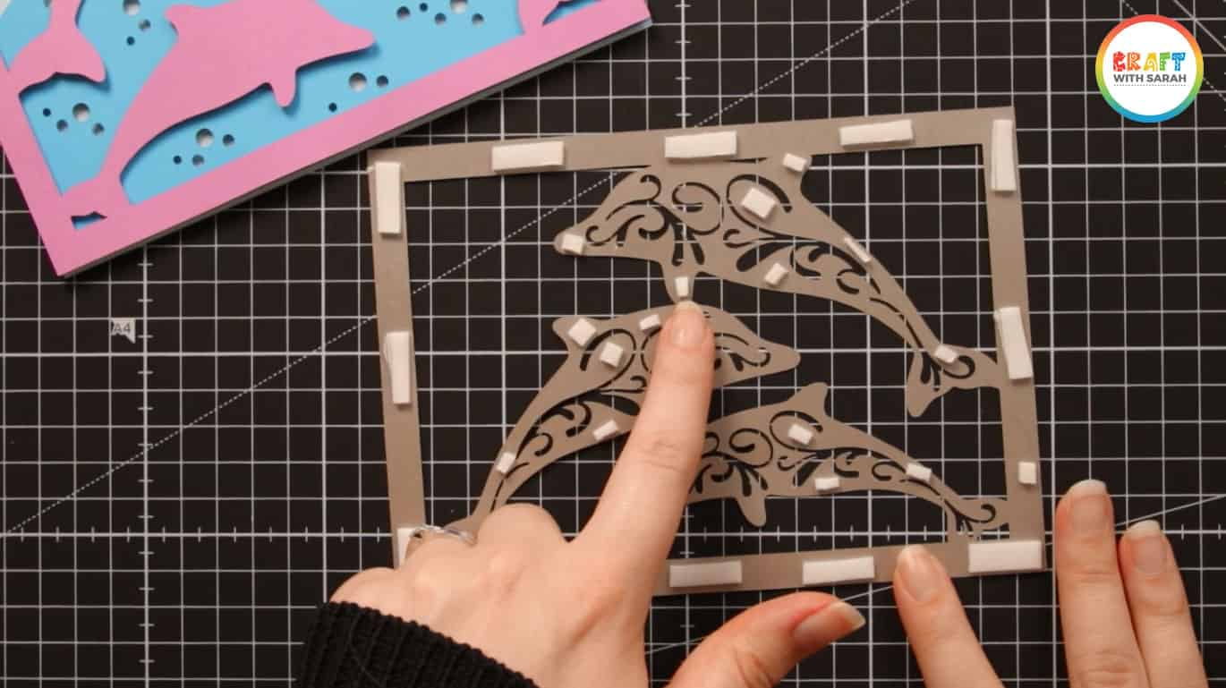 Cut foam pads smaller for filigree dolphins