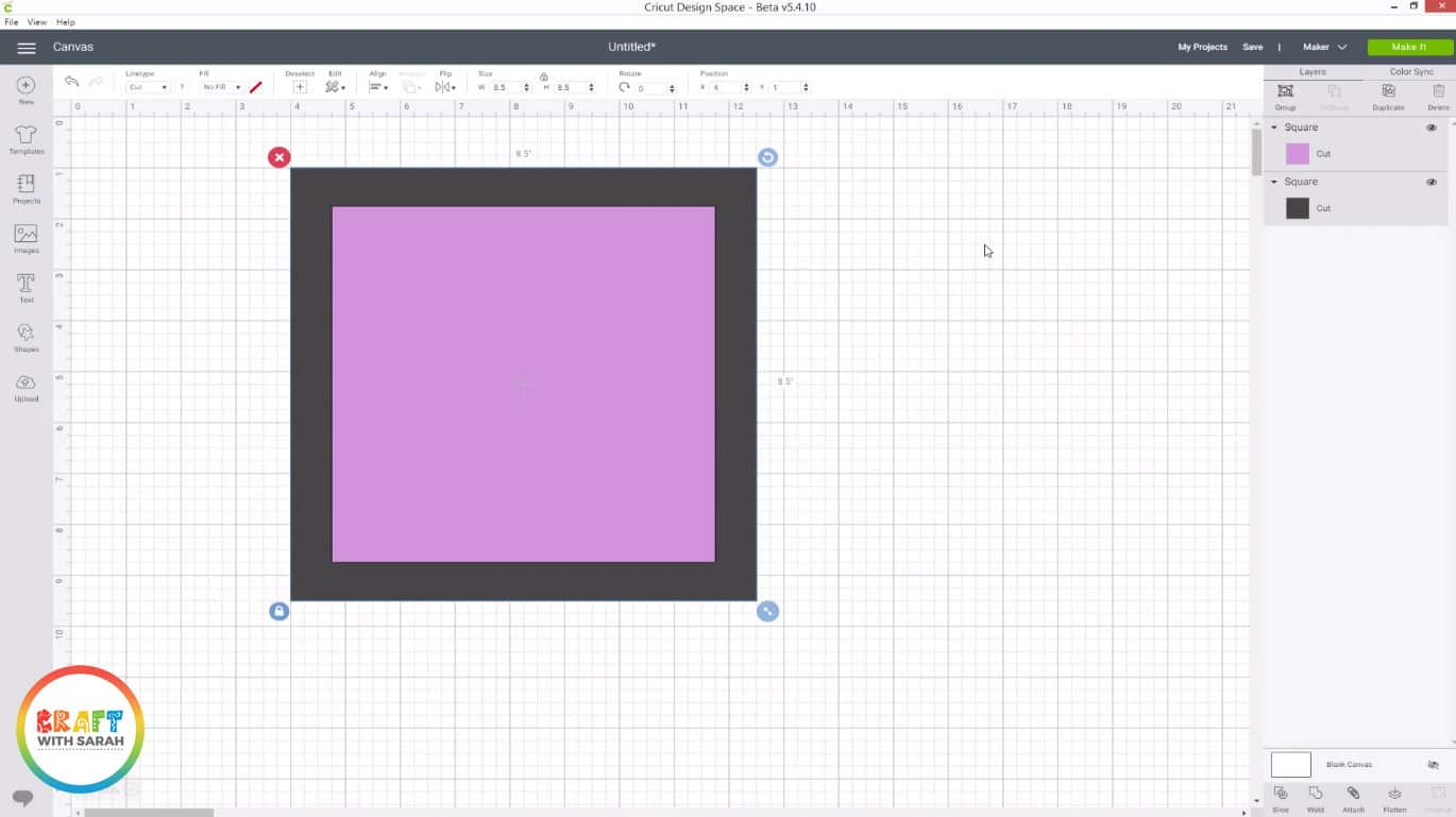 Create a square in Cricut Design Space