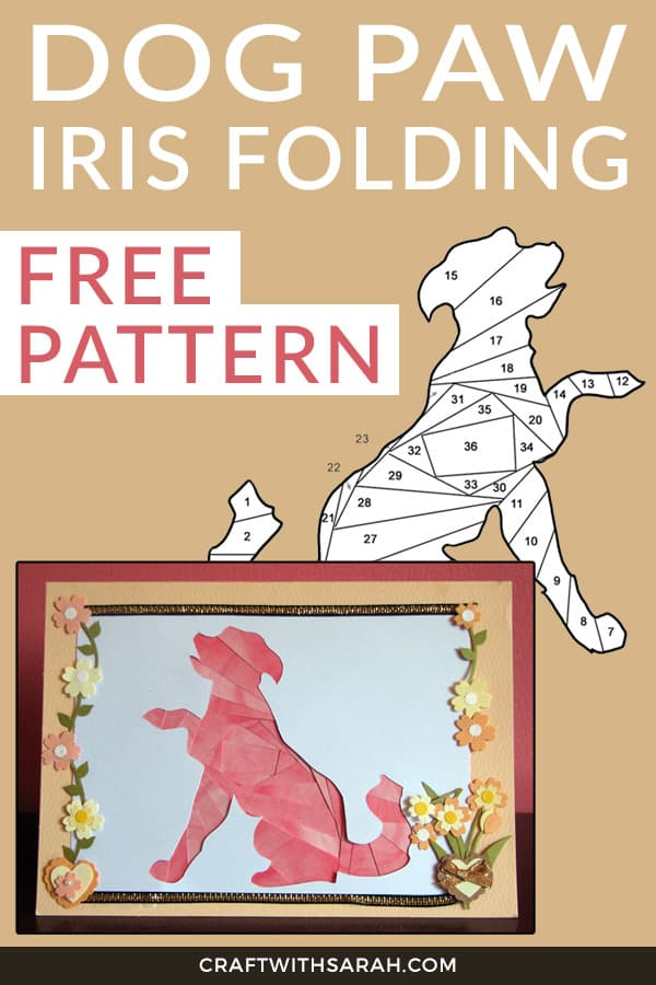 Dog paw shake iris folding pattern. Download this free iris folding dog pattern today!