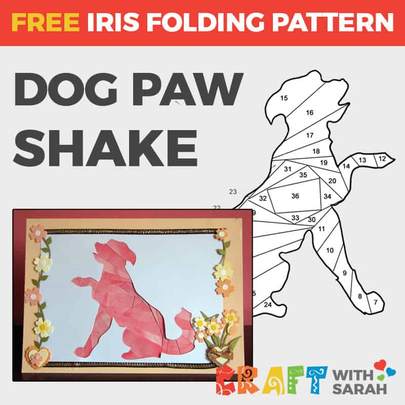 Dog Paw Shake Iris Folding Pattern
