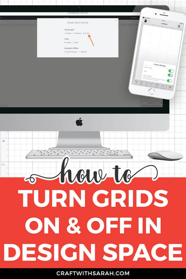 How do you get rid of the grid in Cricut Design Space? Here's how! It it just takes three clicks of your mouse to remove them! Follow the instructions for both desktop and mobile app.