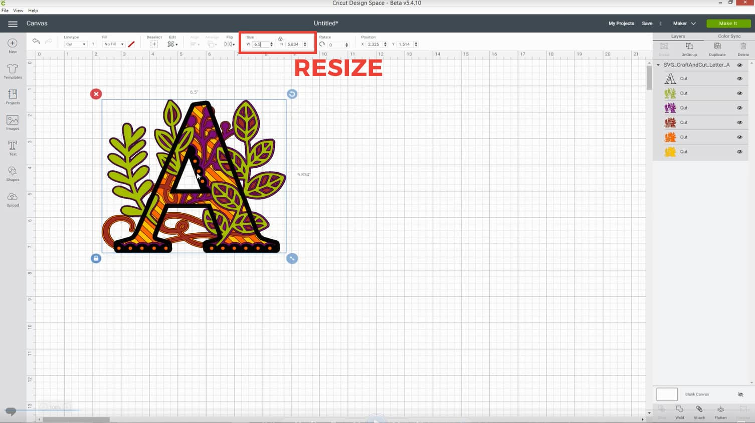 Resize in Cricut Design Space