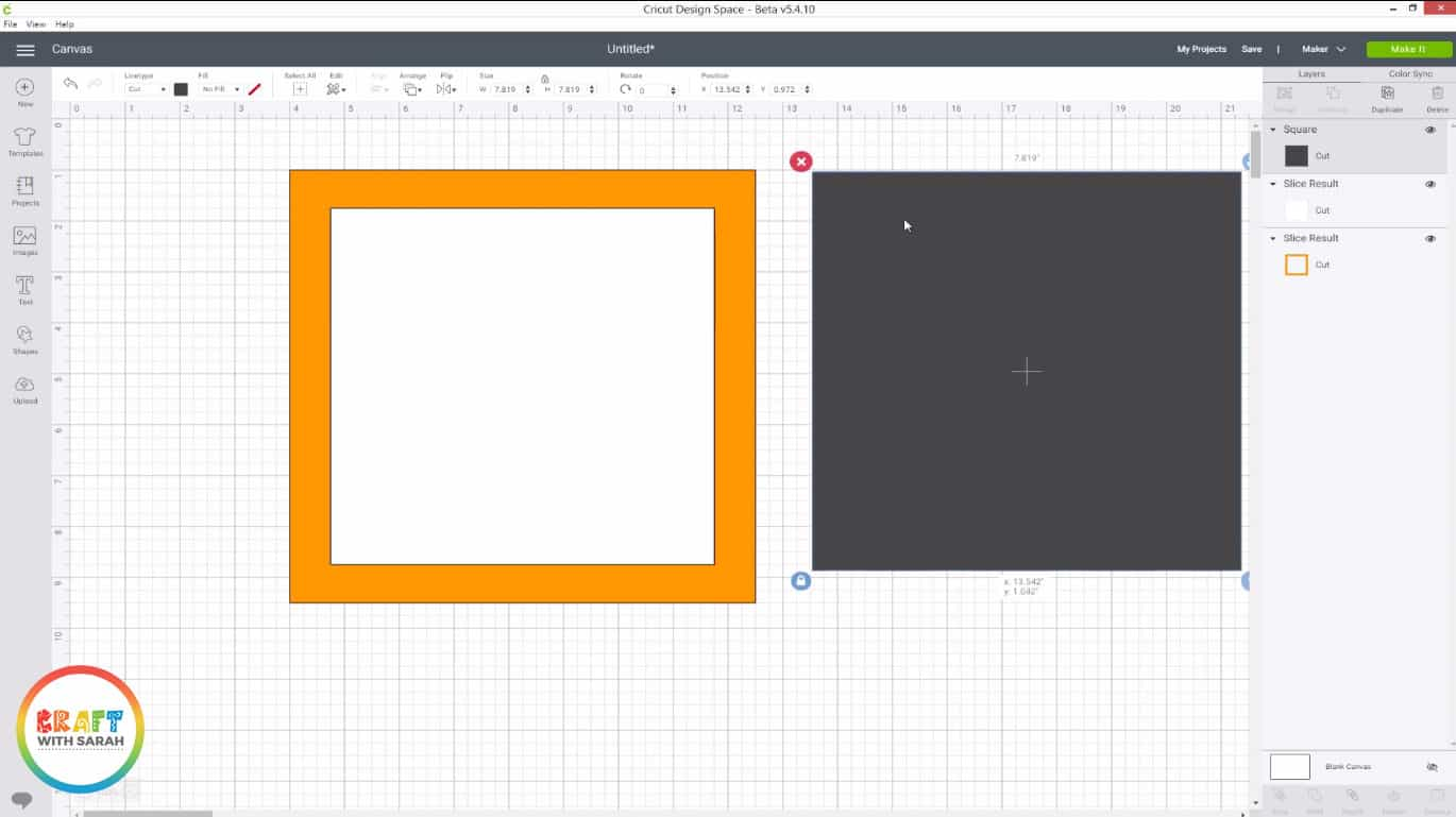 Make a third square shape in Design Space