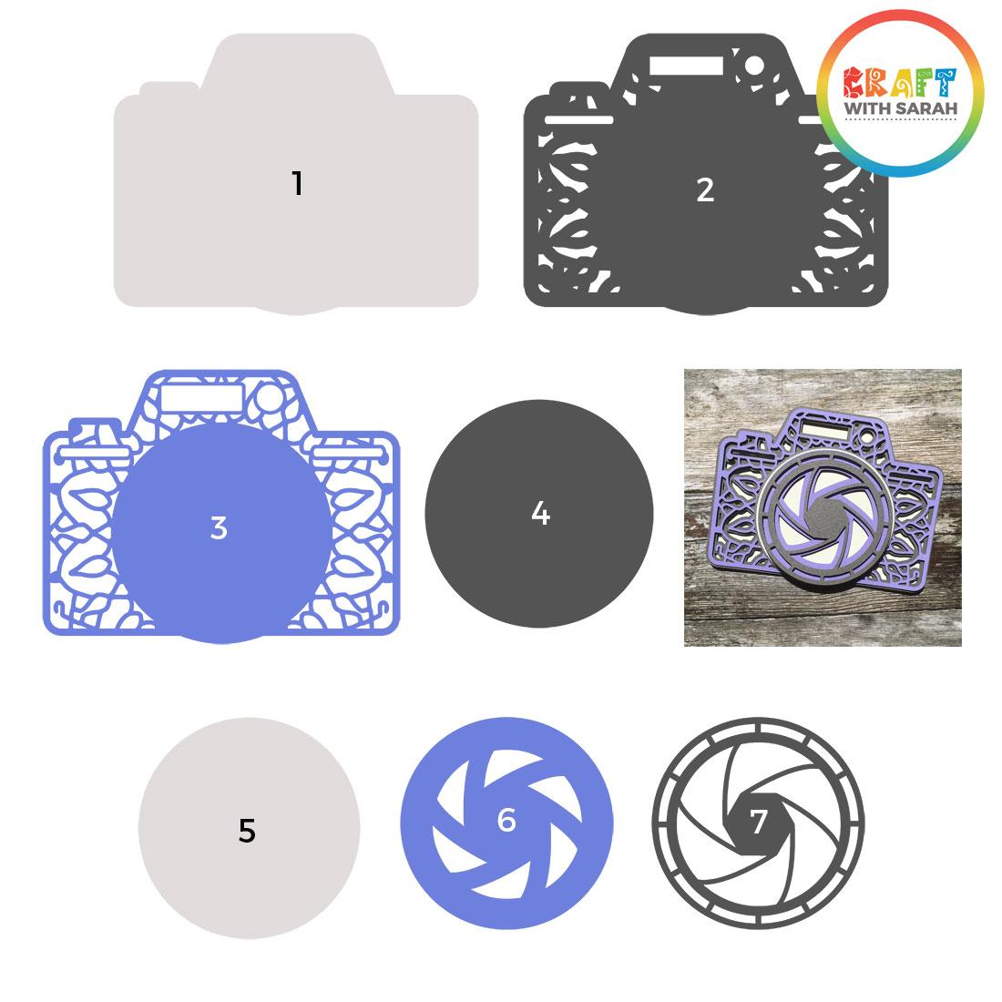Seven layers of camera SVG file