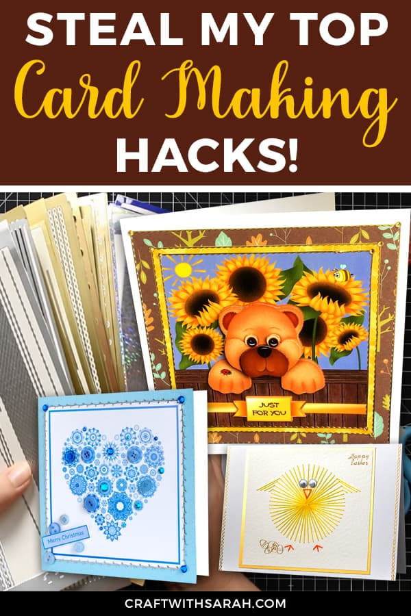 If you're like me and you struggle to stick things perfectly straight on your handmade cards, you NEED to know these hacks to get your cards looking perfect, even if you've stuck things on a little bit wonky.