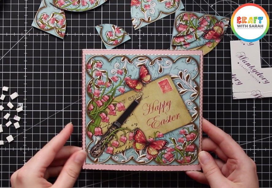 Decorated card with vintage Easter design