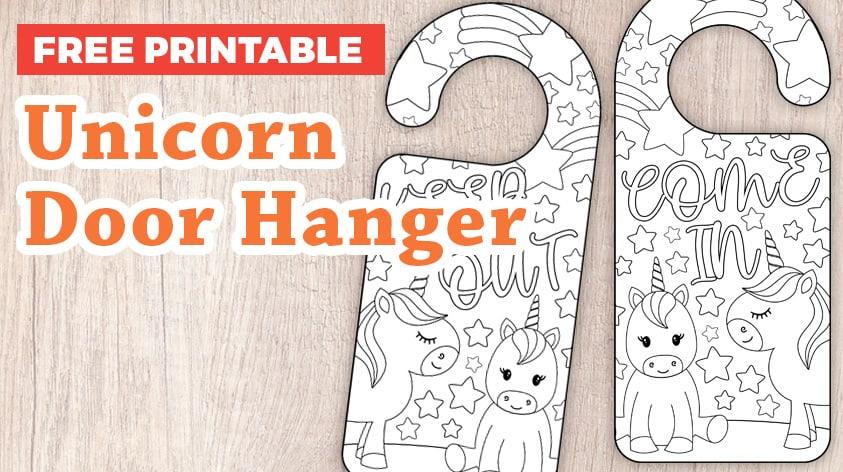 Free Unicorn Coloring Door Hanger