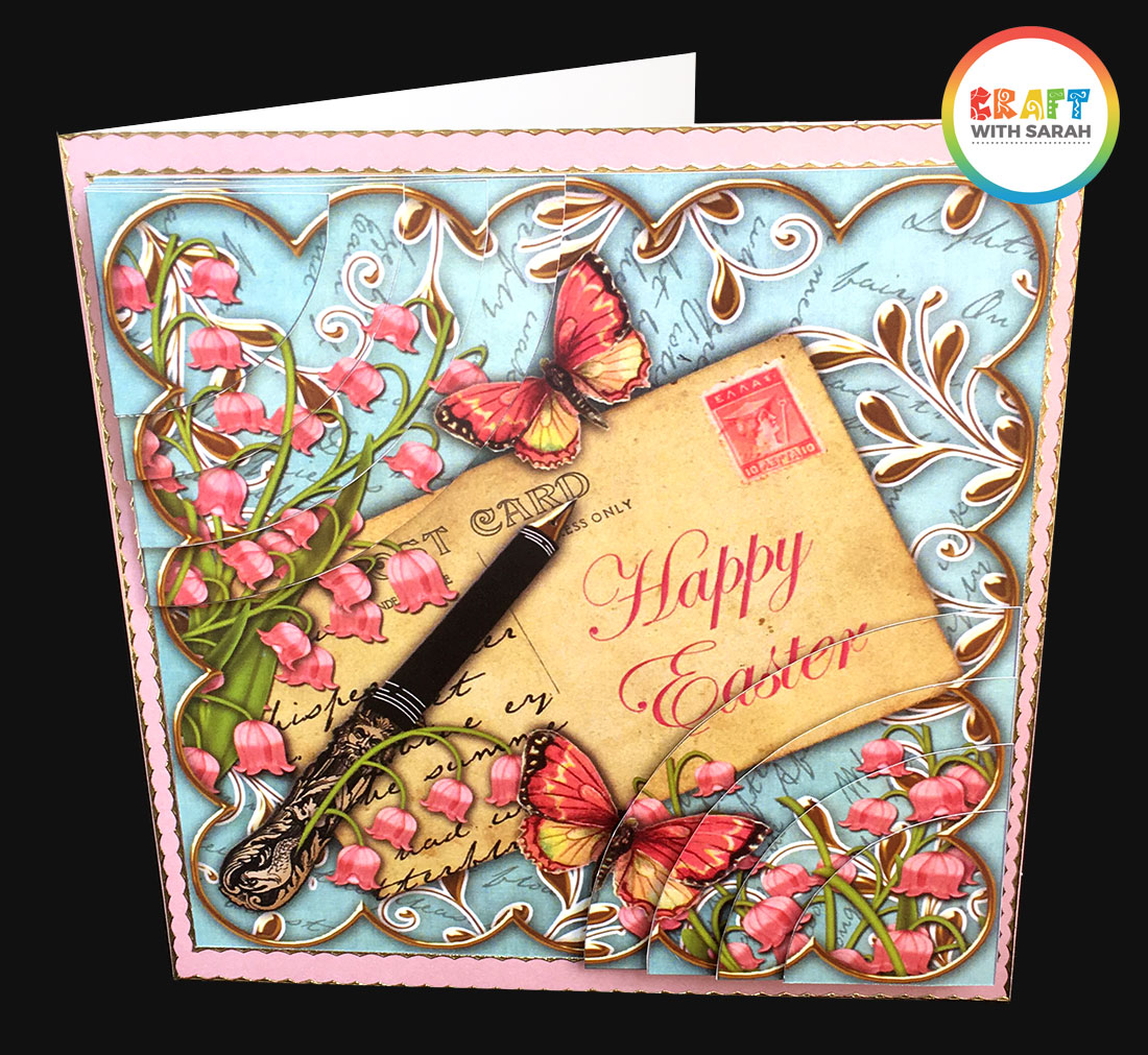 Vintage Easter handmade greetings card with a duo corner stacker design