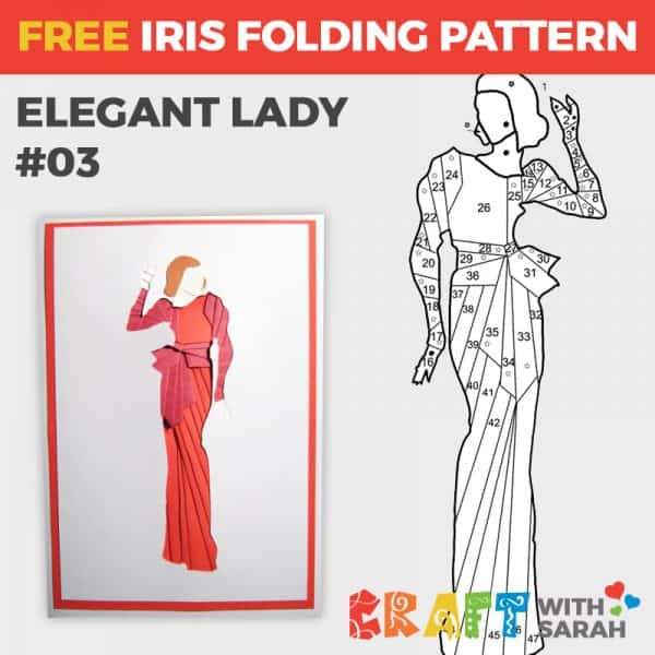 Elegant Lady Iris Folding Pattern 03
