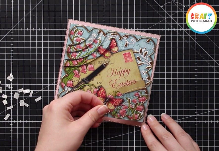 Finish the double corner stacker by adding all of the layers to the main card topper design