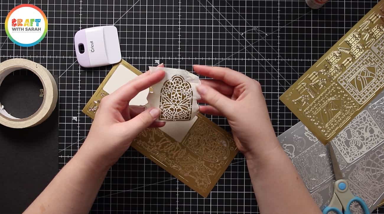 Carefully remove masking tape in card making project