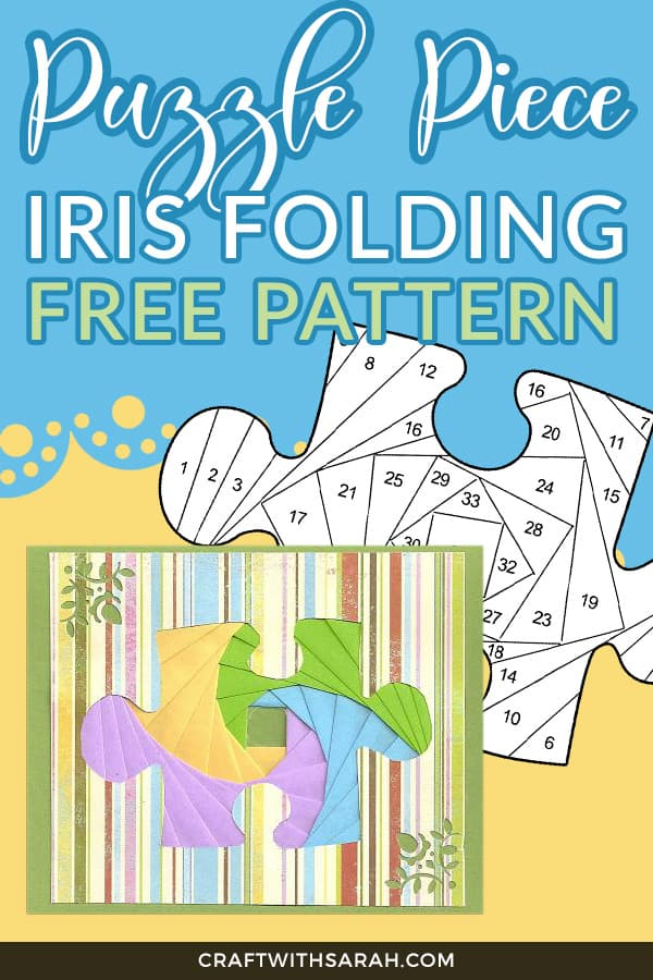 Puzzle piece free iris folding pattern. Board game iris folding pattern.