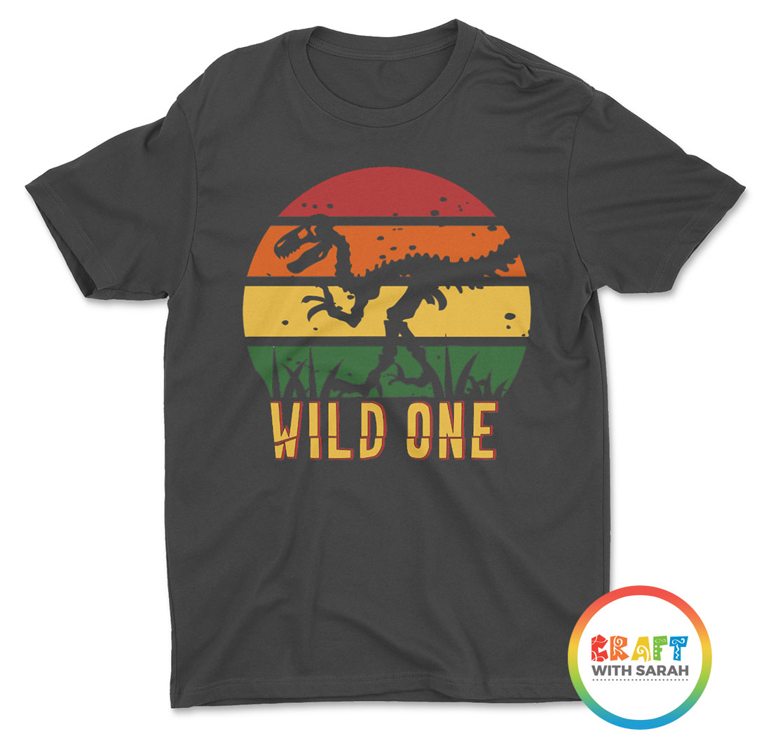 Retro sunset tshirt design with dinosaur