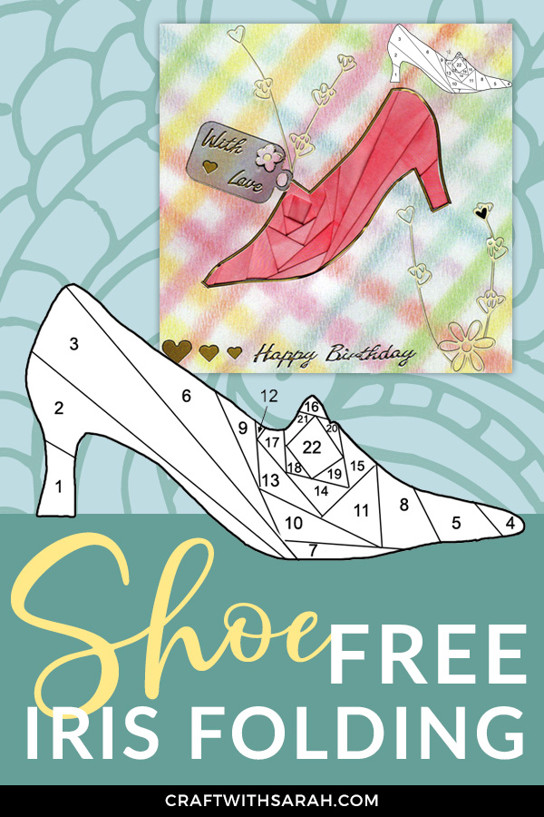 A free iris folding pattern of a fashion shoe.  This stylish high-heeled shoe is perfect for making a card for the fashionista in your life!