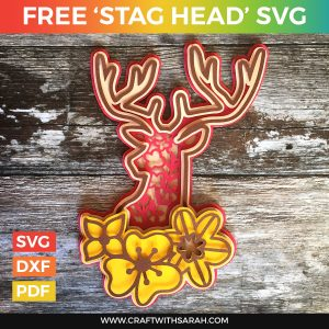 Stag Head Layered SVG