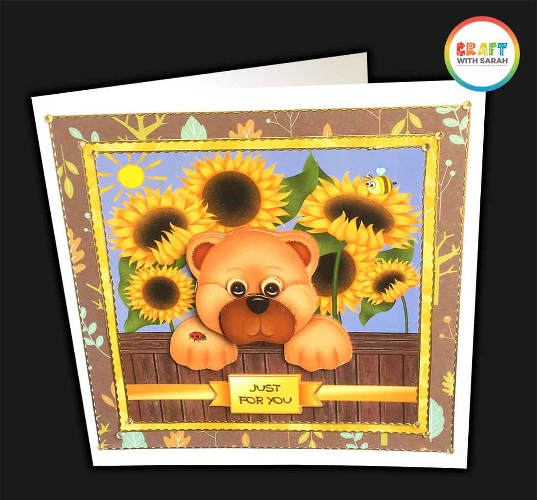 Finished teddy bear handmade card with border peel-off stickers and gemstones added