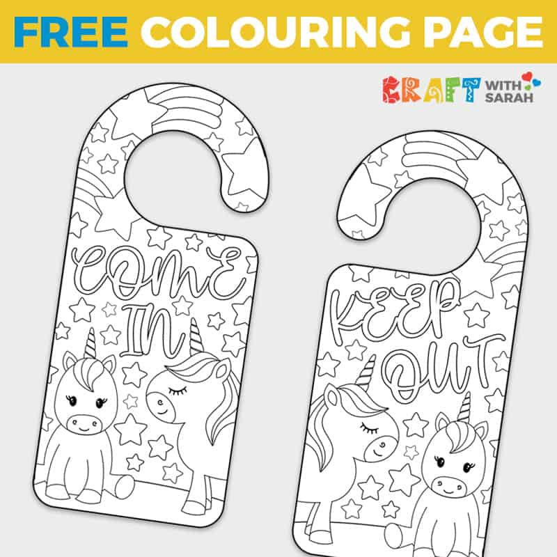 Free Unicorn Door Hanger to Color