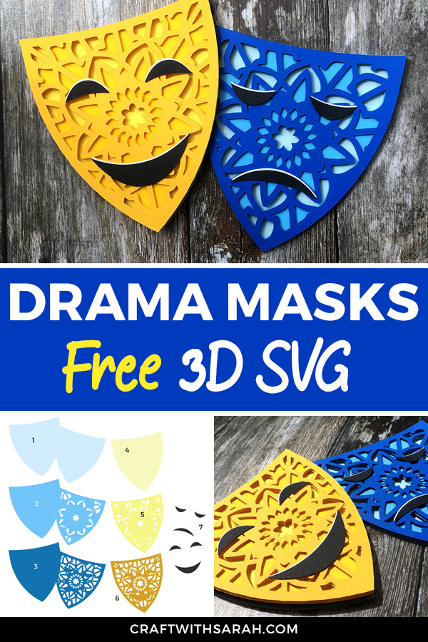 Drama masks free SVG. Cut these mandala theatre masks on your Cricut or Silhouette machine.
