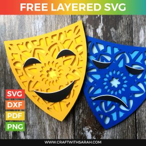 Happy & Sad Drama Masks Layered SVG