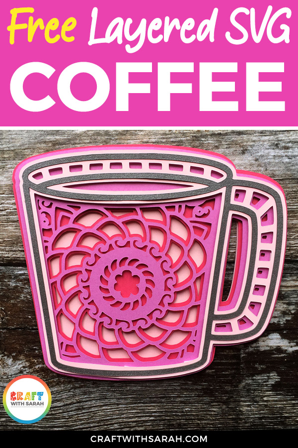 Free layered mandala coffee mug SVG for Cricut and Silhouette machines. #cricut
