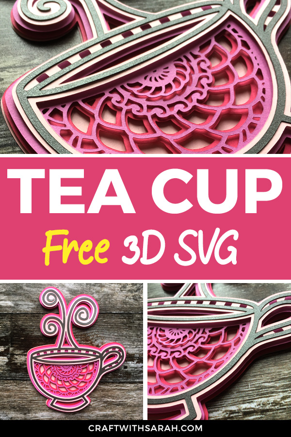 Free mandala teacup SVG for Cricut and Silhouette machines. Show your love of tea with this cute little teacup layered SVG.
