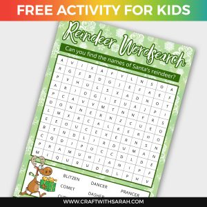 Santa's Reindeer Wordsearch Printable