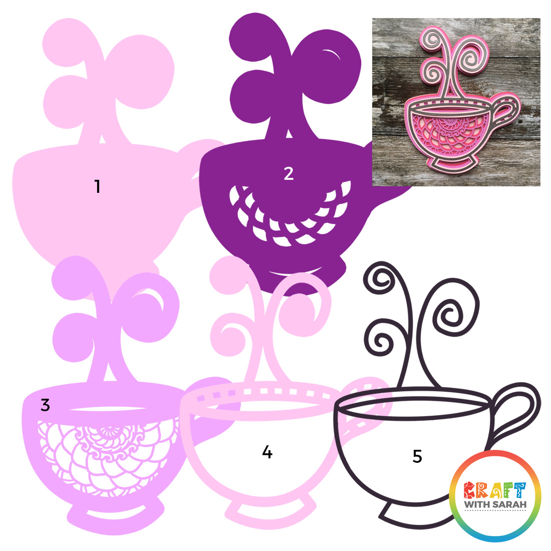 Teacup layers for mandala SVG