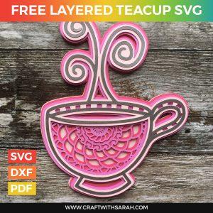 Mandala Teacup Layered SVG